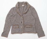 Phase Eight Womens Size 16 Striped Wool Brown Cardigan (Regular)