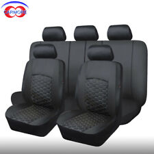 11 Full Set Black Universal Seat Covers Faux Leather Mesh Cushioned Breathable