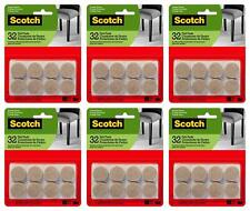 Scotch Round Felt Pads, 1 in, Beige, Lot of 6 Packs (32 Pads/Pack)