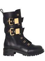 EUC* GIUSEPPE ZANOTTI Black Leather & Gold Buckle Combat Moto Boots sz 40