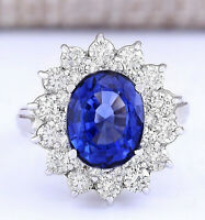 5.55 Carat Natural CEYLON Sapphire 14K White Gold Diamond Ring