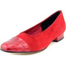 Zapatos planos de mujer de color principal rojo de ante
