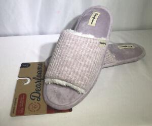 Dearfoams Womens Knit Slide Slipper Open Toe Size 9/10 Frosted Plum Light Purple