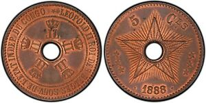 CONGO Free State 1888/7 (overstrike) 5 Centime PCGS MS64RB