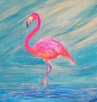 Original acrylic opera rose FLAMINGO painting,  on canvas frame 40x40cm