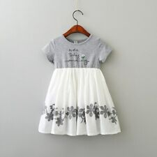 Girls Short Sleeve Kids Dresses Patchwork Cotton Children Vestidos O-neck Dress