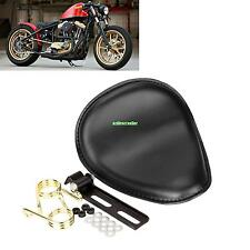 """Leather Motorcycle 2.8"""" Spring Solo Bracket Seat For Harley Chopper Bobber"""