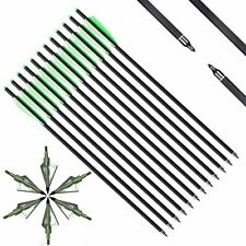 """6/12x 20"""" Carbon Crossbow Bolts Arrows with Broadheads Arrowheads Set Hunting"""