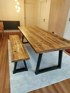 Industrial dining table and a bench with rustic  style top length 200cm