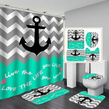 Nautical Anchor Print Shower Curtain BathMat Toilet Cover Rug Bathroom Decor
