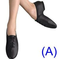 JAZZ DANCE SHOES Black Leather UNISEX split sole (pumps irish hard jig) (AA)