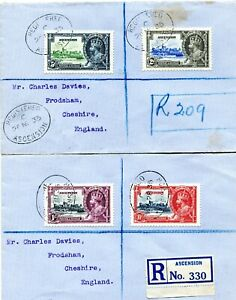 1935 Silver Jubilee Ascension set on 2 registered covers to England