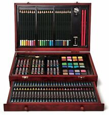 Art Box Drawing Painting Pastel Sketch Set 142 Piece Pencil Color Collage Wood