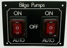 Narrowboat 2 Bilge Pump Switch Panel 20A 12/24 volt Four pumps Two switchs