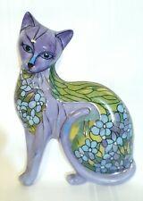 "Bradford Exchange ""Iris Intrigue"" Heirloom Porcelain Cat Art / Wall Decor / Euc"