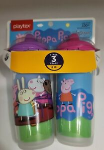 2 Pack Brand New Peppa Pig Playtex Sipsters Spout Cup Stage 3, 9 oz. 12 M+