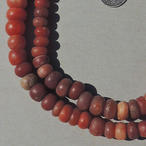 a strand of ancient agate african stone beads mali #4155
