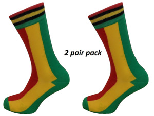 Mens 2 Pair Pack Rasta Striped Retro Socks