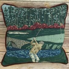 "Golfer Tapestry Pillow Blue Green Burgundy 16"" Decorative Great Gift For Golfer"