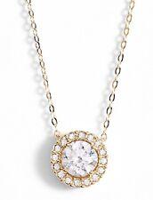 Nadri Halo Pendant Necklace Gold Tone
