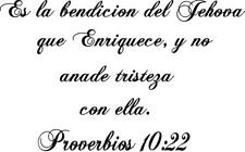 Proverbs 10:22 in Spanish bible quote vinyl wall decal