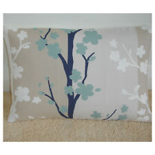 """NEW 20"""" x 12"""" Oblong Bolster Cushion Cover Duck Egg Navy Blue White Beige Tree"""