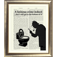 Sherlock Holmes impresión de arte en la página de libro diccionario baño signo Divertido Novedad