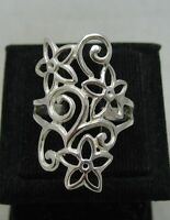 STYLISH LONG STERLING SILVER RING FLOWER SOLID 925 NEW SIZE G - Z EMPRESS