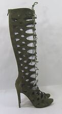 """new GREEN 5""""Stiletto high heel lace up knee open toe SUMMER SEXY boots size 8"""