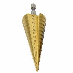 4-32mm HSS Titanium Hex Shank Step Cone Drill Bit Hole Saw Cutter Tool nw