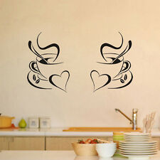 Kitchen Wall Art Sticker Coffee Cup With Heart Kitchen Vinyl Wall Decor Decal