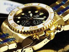 NEW Deep Blue Sea Ram Sapphire Screw Down Chrono Gold Tone SS 500M Diver Watch