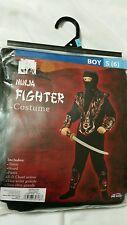 NINJA FIGHTER Black Halloween Ninja Costume Boys Fun World, Small (6), Used