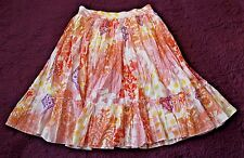 EUC Womens S CHANDRY Orange Ivory Lined Exotic Tropical Floral Skirt