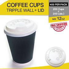 200p/c Disposable Coffee Cups+Lids 12 oz Triple Wall Take Away Bulk