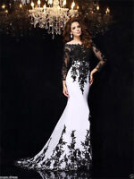 Black White Lace Long sleeves Prom Dress 2018 Wedding Evening Party Pageant Gown