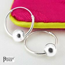 925 STERLING SILVER HOOP EARRINGS BALL BEADS SOLID FINE CLIP NOSE SMALL SET RING