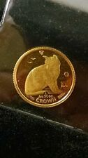 1990 Gold Crown 1/25 oz Isle of Man N Y Alley Cat Coin Uncir Proof 1/25th C010
