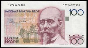 BELGIUM P.142a 1982-1994 100 Francs BANKNOTE AUNC