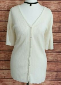 Ladies Short Sleeved V-NECK Fitted Cardigan WHITE Button Down Ribbed XL UK-18