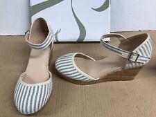 ce2d99278814 EVANS cream blue stripes Wedge Sandals FLAVIA wide fit uk 8 E eur 41 3