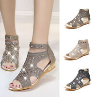 Women Roman Comfortable Sandals Crystal Ladies Flat Shoes Peep Toe Hollow Zipper