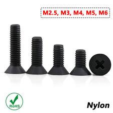 M2 - M6 Black Plastic Countersunk Screws Nylon Flat Head Screws Phillips DIN 965