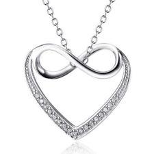 Unendlichkeit Herz Liebe Halskette Anhänger mit Kristallen 925 Sterling Silber