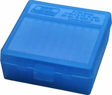 NEW MTM 100 Round Flip-Top 38/357 Cal Ammo Box - Clear Blue