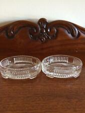 PAIR VINTAGE EDWARDIAN ART DECO OPEN PRESSED FOOTED GLASS SALTS DISHES