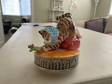 "Beautrix Potter ""Miss Moppet"" music box, by Schnid, works but sits wonky, plays"