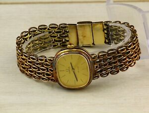 Omega De Ville 625 SOLID silver 925 gold plated women's Swiss made wristwatch