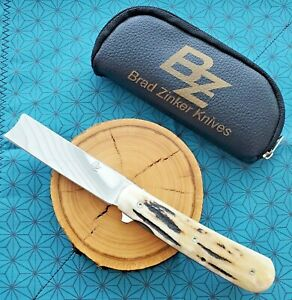 Brad Zinker Custom Swayzor Flipper Knife, Sambar Stag, Titanium, Hand-Rub CPM154