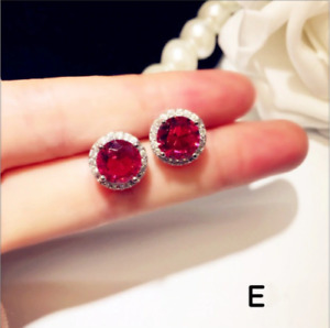 3Ct Round Cut Red Ruby Diamond Halo Push Back Stud Earring 14K White Gold Finish